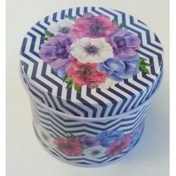 Guľatá plechovka - Kvety a ornamenty