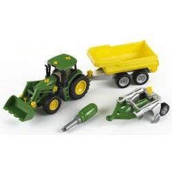 John Deere Traktor so sklápacím prívesom a pluhom
