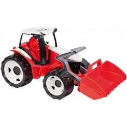 Traktor sa lyžicou červeno-biely