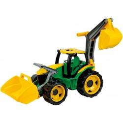 Traktor sa lyžicou a bagrom zeleno-žltý