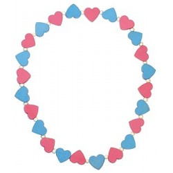 Detský náhrdelník s ružovými a modrými srdiečkami