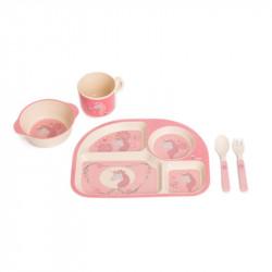 Bo Jungle kukuričná jedálenská súprava B-Dinner Unicorn Pink