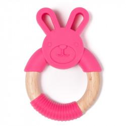 Bo Jungle hryzátko B-TEETHER ANIMAL WOOD Pink Rabbit