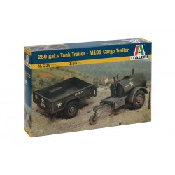 Model Kit military 0229 - 250 GAL.S TANK TRAILER - M101 CARGO TRAILER (1:35)