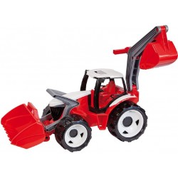 Traktor s lyžicou a bagrom, červený