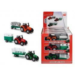 Traktor kovový s prívesom 18 cm, DP12, 3 druhy