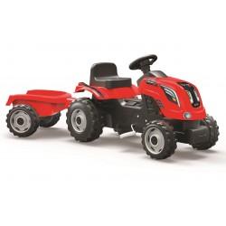 Šliapací traktor Farmer XXL červený s vozíkom