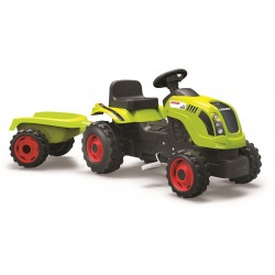 Šliapací traktor CLAAS zelený s vozíkom