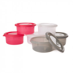 Bo Jungle misky s viečkami Bowls Pink/White/Grey 300ml (6ks)