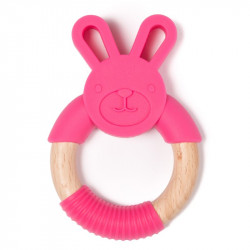 Bo Jungle hryzátko B-TEETHER ANIMAL WOOD Pink Rabbit