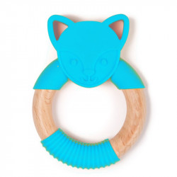 Bo Jungle hryzátko B-TEETHER ANIMAL WOOD Blue Fox