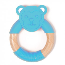 Bo Jungle hryzátko B-TEETHER ANIMAL WOOD Blue Monkey