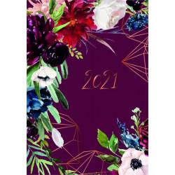 ALBI Diář denní bordó kytky