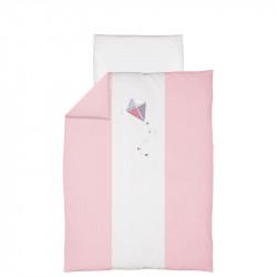 CEBA Bielizeň posteľná 2-dielna Drak vyšívaný bielo-ružová
