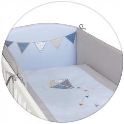 CEBA Bielizeň posteľná 3-dielna Drak vyšívaný modro-šedá