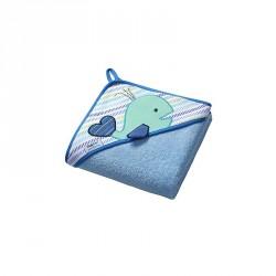 Osuška s kapucňou - froté 100x100 Veľryba - Modrá